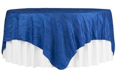 """Accordion Crinkle Taffeta Table Overlay Topper 85""""x85"""" Square - Royal Blue ● As Low as $9.99 ● Available from www.cvlinens.com"""