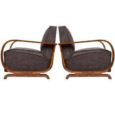 Austrian Art Deco Period Burled Walnut Armchairs
