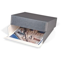 Gaylord® Blue/Grey Barrier Board Drop-Front Deep Lid Archival Print Box | Photo, Print & Art | Archival Storage Boxes | Preservation | Gaylord Archival