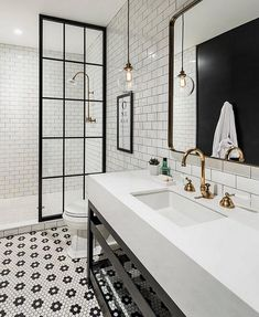 "206 Likes, 2 Comments - ZINC DOOR (@zincdoor) on Instagram: ""Simple black and white bathroom with brass accents #regrant via @beckiowens @zincdoor #zincdoor…"""