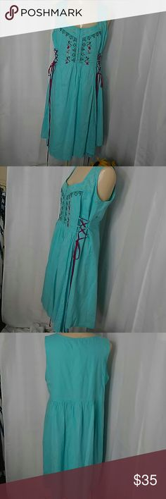 Joe Browns pinafore dress Turquoise with embroidery embellishments. Wine colored Lacing at the side pleating. Size 14 US. joe Brown's Dresses Midi
