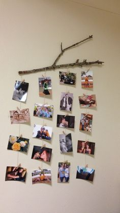 In lieu of a picture rail, attach a branch (or curtain rail) to your wall - balance on two hooks then suspend prints and photos beneath