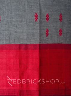 DHONEKHALI WIDE BORDER GREY-RED COTTON SAREE         Rs 2165