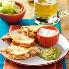 This recipe has an impressive look and taste with little preparation. The leftover chicken gets Mexican flair from cumin in this fun main dish. —Linda Wetzel, Woodland Park, Colorado | Chicken Quesadillas Recipe from Taste of Home