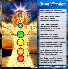Chakra affirmations for the soul... repinned by http://Reiki-Master-Training.com