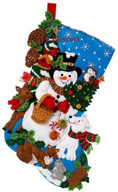 Woodland Snowman 18″ Bucilla Felt Christmas Stocking Kit #86201