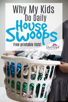 Daily House Swoops -- it's a fun way to help kids learn responsibility about tidying up a home! House swoops only take minutes but make a huge impact on the cleanliness of your home! Enjoy the free printable House Swoop lists that are age group focused. Lists are from Toddlers to Teens! Every parent needs to find out about House Swoops and implement them today!