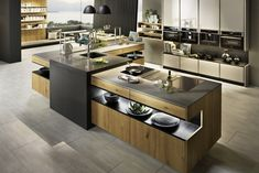 21 Modern Kitchen Concepts Every House Cook Requirements to See Luxury Kitchen Design, Interior Design Kitchen, Home Decor Kitchen, Home Kitchens, Kitchen Cabinets Showroom, Casas Country, Kitchen Island Lighting Modern, Handleless Kitchen, Open Plan Kitchen