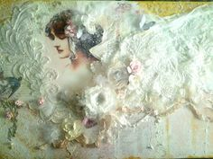 Large canvas lace angel created by Rhue Chantal.  This piece features my own handcrafted fabric flowers, and lots of layering techniques!
