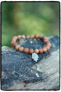 Pave' White Topaz and Sterling Hamsa Sandalwood Stretch Bracelet, Yoga Inspired, Chakra Bracelet, Meditation Jewelry, On Trend, Minimalist