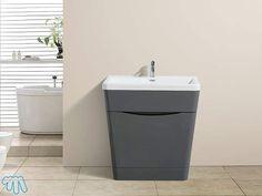 Vasque et Meuble à poser Salle de bain Gris laqué PIANA