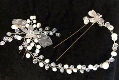 Wire wrapped jewelry handmade bridal hair accessory  - glass beads, river pearls, artistic wire and acrylic - wedding hair pin.