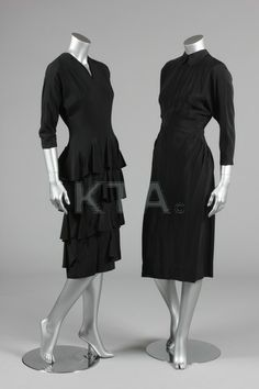 An Irene black silk tiered dinner gown, and a black silk button-backed dinner dress. late 1940s,