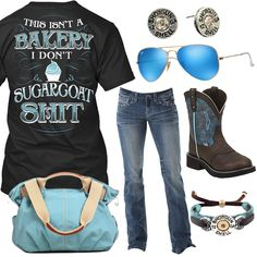 8c2a0eae5b7e This Isn t A Bakery Ray-Ban Blue Sunglasses Outfit - Real Country Ladies