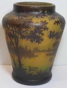 Large Daum Nancy Etched Glass Cameo Vase.
