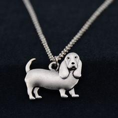 Detailed Silver Basset Hound Necklace