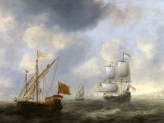 Jacob Adriaensz Bellevois -Turkish galley and Dutch ship near the shore