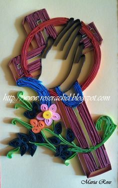 Quilled cross card zoom in