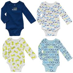 """Koala Baby Boys' 4 Pack Navy/Blue Printed and Embroidered Long Sleeve Bodysuits - Babies R Us - Babies """"R"""" Us"""