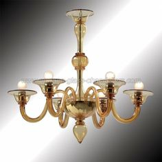Simple But Armonious Forms In This Amazing 6 Lights Amber Murano Chandelier Authentic Glass Hand N Italy