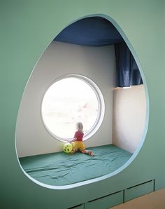 built-in kids bunk with a view