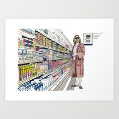 Jeffrey+Lebowski+and+Milk.+Art+Print+by+DJayK+-+$17.00