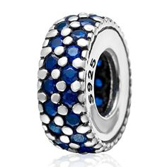 September Birthstone Sapphire Crystal Charm 925 Sterling Silver Bead Fits Pandora Charms *** Additional info @