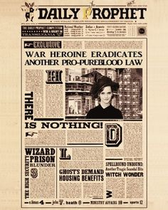 Daily Prophet: Was heroine eradicates another pro-pureblood law Harry Potter Adult Party, Theme Harry Potter, Harry Potter Bedroom, Harry Potter Houses, Harry Potter Gifts, Harry Potter Birthday, Harry Potter Love, Harry Potter Hogwarts, Harry Potter World
