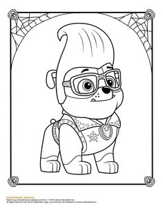 Super Hero Rubble Paw Patrol Coloring Page Paw Patrol