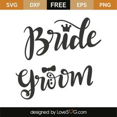Bride and groom Silhouette Cameo Projects, Silhouette Design, Bride And Groom Silhouette, Cricut Wedding, Cricut Vinyl, Vinyl Designs, Svg Cuts, Lettering, Wedding Ideas