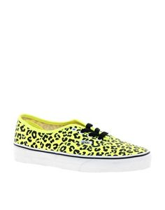 Aumentar Zapatillas de deporte con estampado de leopardo en color amarillo flúor Authentic de Vans