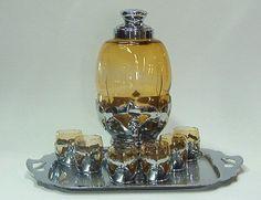 Amber Samovar / Dispenser with  Tray & Glasses in Farber Holder
