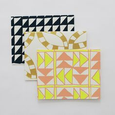 3 Quilt Cards: Navy/Gold/Neon