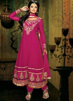 #Magenta #Embroidered #Georgette #Anarkali Suit