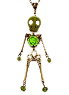 Skeleton Skull Doll Pendant Lime Green Handmade Necklace with Flower Artist Jewelry 02 Moon Pixie