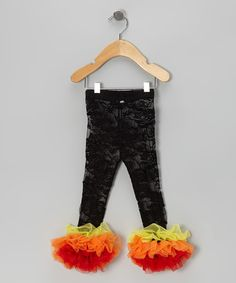 Take a look at this Black & Orange Lace Ruffle Leggings - Infant, Toddler & Girls by The Princess and the Prince on #zulily today!