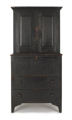 Step Back Cupboard~ Colonial/Primitive/Furniture. Primitive Cabinets, Primitive Furniture, Primitive Antiques, Antique Furniture, Painted Furniture, Black Furniture, Colonial Furniture, Country Furniture, Farmhouse Furniture