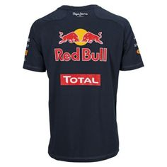 Official Red Bull Racing Merchandise for the 2012 Formula 1 season.    2012 Red Bull Relica Team T-Shirt    Navy / Cotton    Part of the official Red Bull Racing range, this T-Shirt features all team and sponsor logos on the front, sleeves and back with the Red Bull Racing team stripes at the hem.    It is a must have for any Red Bull fan wanting to cheer on the Double World Champions.