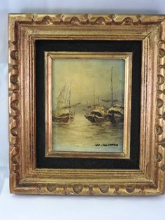 Antique Chinese oil painting on canvas,miniature of ship,gilt framed,signed by ArtistTatiana on Etsy