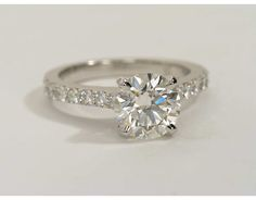 Cathedral Pavé Diamond Engagement Ring in Platinum (1/2 ct. tw.) | Blue Nile 2.0 carat vs2 clarity ideal cut****** 20k