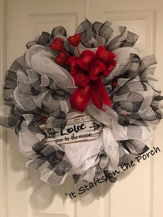 For those who like a clean look. This deco mesh wreath will deliver you straight through till Spring. Perfect for a February wedding too! The Effective Pictures We Offer You About DIY Wreath yarn A qu Valentine Day Wreaths, Valentines Day Party, Valentine Day Crafts, Valentine Decorations, Valentine Ideas, Holiday Wreaths, Holiday Crafts, Holiday Decor, Diy Wreath