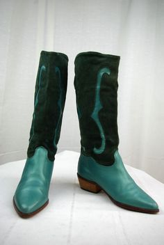 VINTAGE Boots Cowboy boots Leather and Suede Vert T 35 / 35,5 TBE #VINTAGE #Nodata