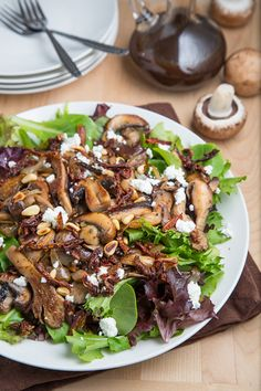 Warm Mushroom Salad *butter, mushrooms, onion, garlic, thyme, white wine or broth, salad greens, balsamic, sundried tomatoes, pine nuts, goat CHEESE