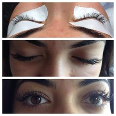 Before and after eyelash extensions done by Patricia Nguyen