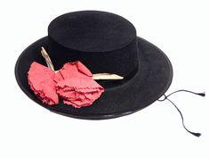 Spanish Black Hat Vintage Flamenco Dancer Hat by RascalsRarities