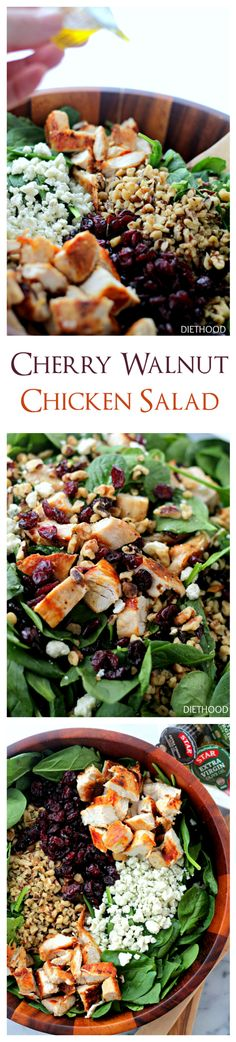 Cherry Walnut Chicken Salad: delicious chicken salad featuring a combination of dried cherries, walnuts and baby spinach tossed with a simple olive oil and vinegar dressing | www.diethood.com