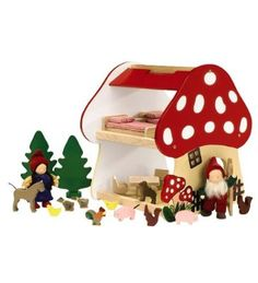 This too. Sturdy Wooden 2-Story Mushroom Gnome House with Accessories