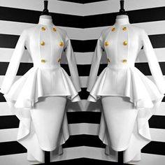 Nicci Hou Collection High Low button peplum top and skirt