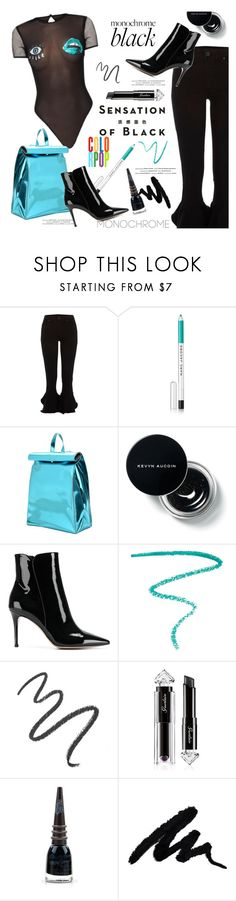 """""""Monochrome All-Black with ColorPop"""" by fashionlibra84 ❤ liked on Polyvore featuring Vision, Marc Jacobs, Franco Pugi, Gianvito Rossi, Maybelline, Guerlain and Manic Panic NYC"""
