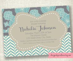 Blue Floral Mix Pattern Bridal or Baby Shower PRINTABLE Invitations